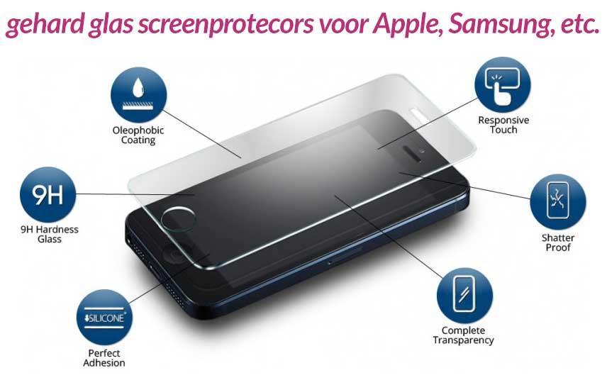 goedkope glazen screenprotectors voor Apple en Samsung smartphones